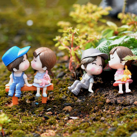 3Pcs/Set Lovers Chair Miniature Landscape DIY Ornament Garden Dollhouse Decor Artificial Mini Fairy Garden Crafts Decorations