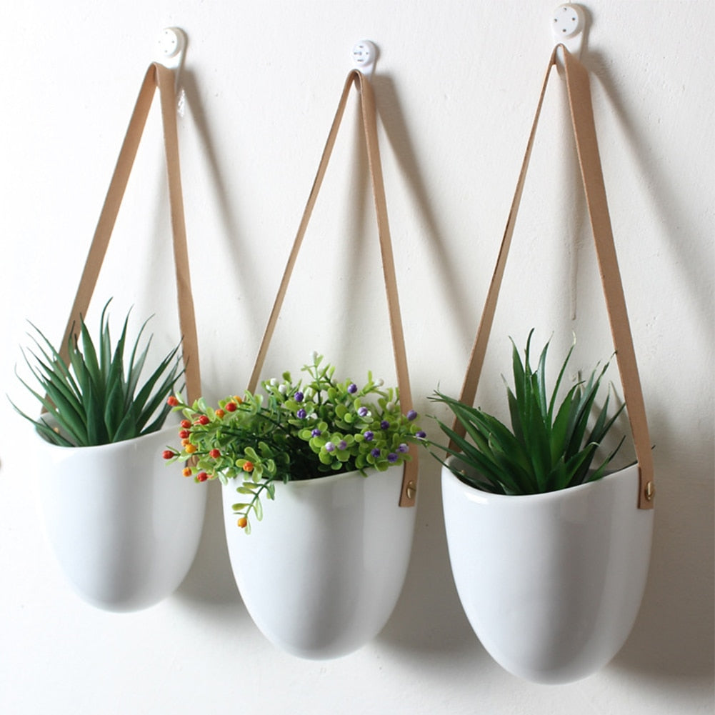 3pcs Decorative With Rope Hanging Planter Modern Nordic Style Ceramic Elegant Holder Home Practical White Wall Flower Pot