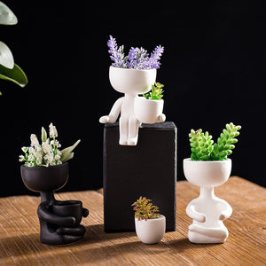 1Pcs Humanoid Ceramic Flower Pot Creative Modern Design Planter Flower Pot Crafts Vase Home Decoration Personalized Gift