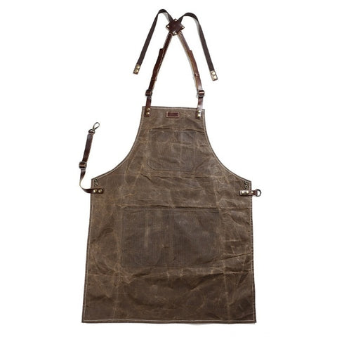 A015 Tool Apron Oil Wax Canvas With Leather Apron Gardening Aprons Tool Barbecue Barber Carpenter Painter Repairman's clothes
