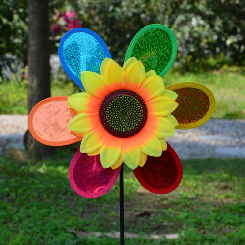 Color Random Sunflower Windmill 3D Decoration Lawn Toy Outdoor Pinwheel for Wind Spinner Home Garden Whirligig Party Yard