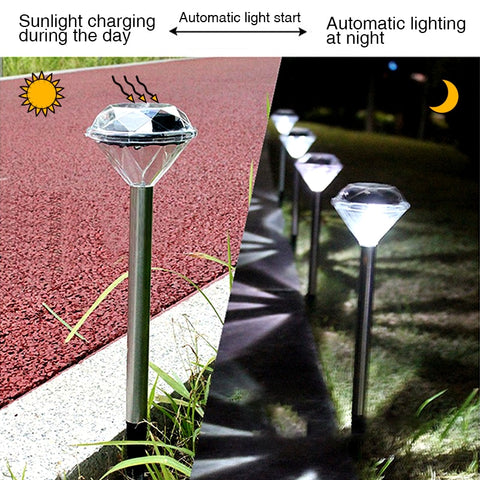 4 Pcs Solar Lawn Light For Garden Decoration Stainless Steel Outdoor Solar Powered Diamond Stake Lights LED Solar Lamp Lantern