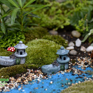 SOLEDI Figurines Mini Pond Tower Lifelike Courtyard Micro Landscape Garden Bonsai Lawn Decor DIY Toys