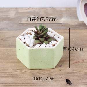 JQWORV Small fresh fleshy flower pot ceramic macarons rainbow thumb pot green planting desktop ornaments planter