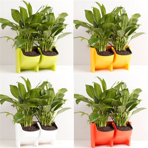 Stackable 2-Pockets Vertical Wall Planter Self Watering Hanging Garden Flower Pot Planter for Indoor/Outdoor