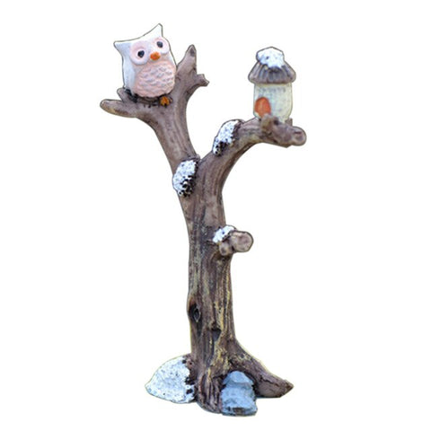 Mini Resin Tree Branch Cartoon Owl Micro Landscaping Ornament Decorative Figurine Garden Bonsai Dollhouse Exquisite Decoration