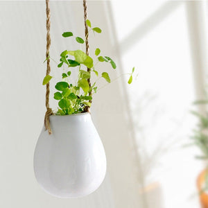 1PC Home Garden Balcony Ceramic Hanging Planter Macrame Plant Flower Pot Vase with Twine Indoor Outdoor Decoration