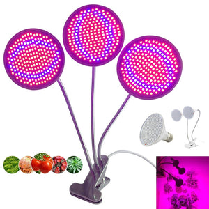 3-head 200 LED Plant Grow Light Bulb for Lamp Room Dual Flower Seeds tent Indoor Clip hydro growbox Veg E27 red blue greenhouse