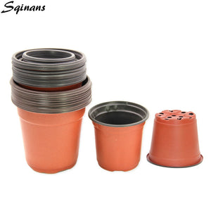 10pcs/Lot Flower Pot Plastic Plant Pot Desktop Potted Green Plant Garden Nursery Flowerpot Home Decor Planter Garden Pots