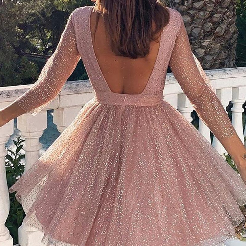 Women Backless Sequin Formal Dress - Fashion Chic