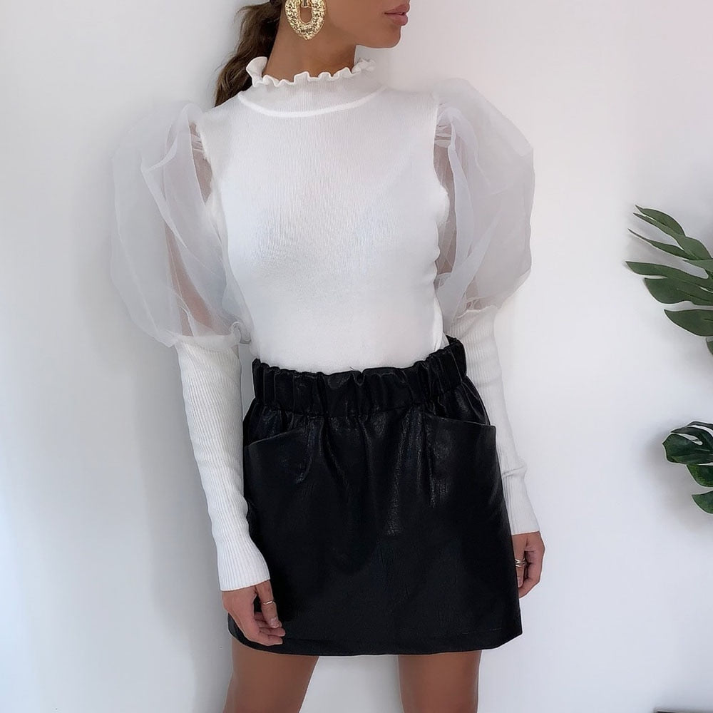 Puff Sleeve Women Mesh Blouse - Fashion Chic