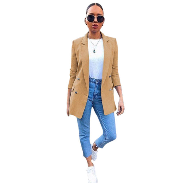 Women Candy Color Mid-long Blazer - Fashion Chic