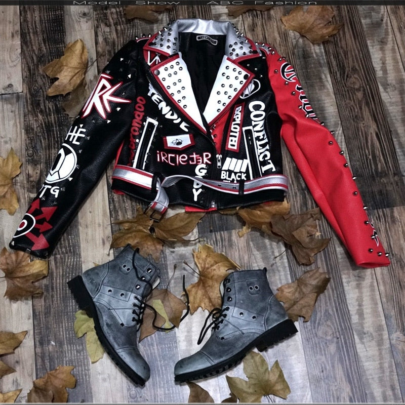 Women Turn-Down collar Punk Rock Jackets - Fashion Chic