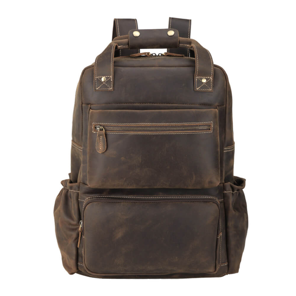 High quality full grain leather luxury backpack everyday use