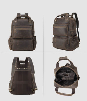 High quality full grain leather luxury backpack four overall pictures front side back inside