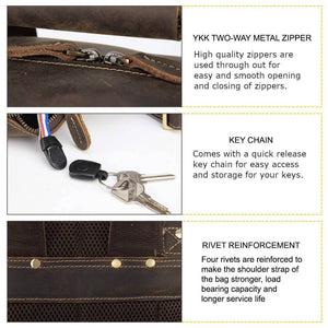 High quality full grain leather luxury backpack features ykk zipper key chain rivet reinforcement