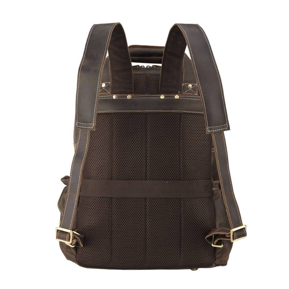 High quality full grain leather luxury backpack padded back