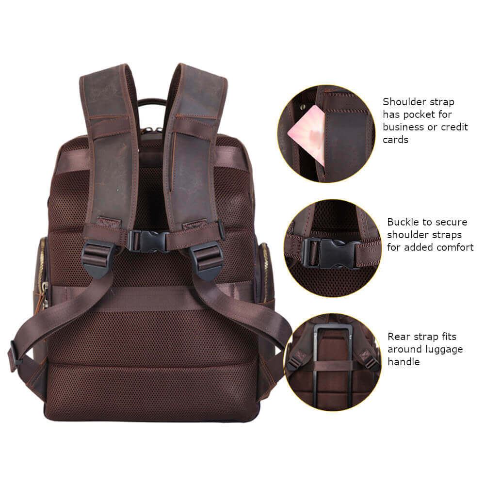 Full grain leather luxury outdoor backpack built in stool usb port fishing hiking camping