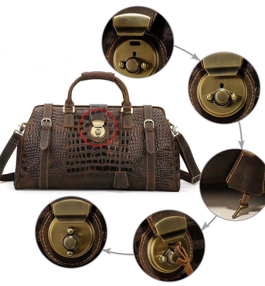 Luxury leather travel duffel bag has lock and key installed to keep belongings safe