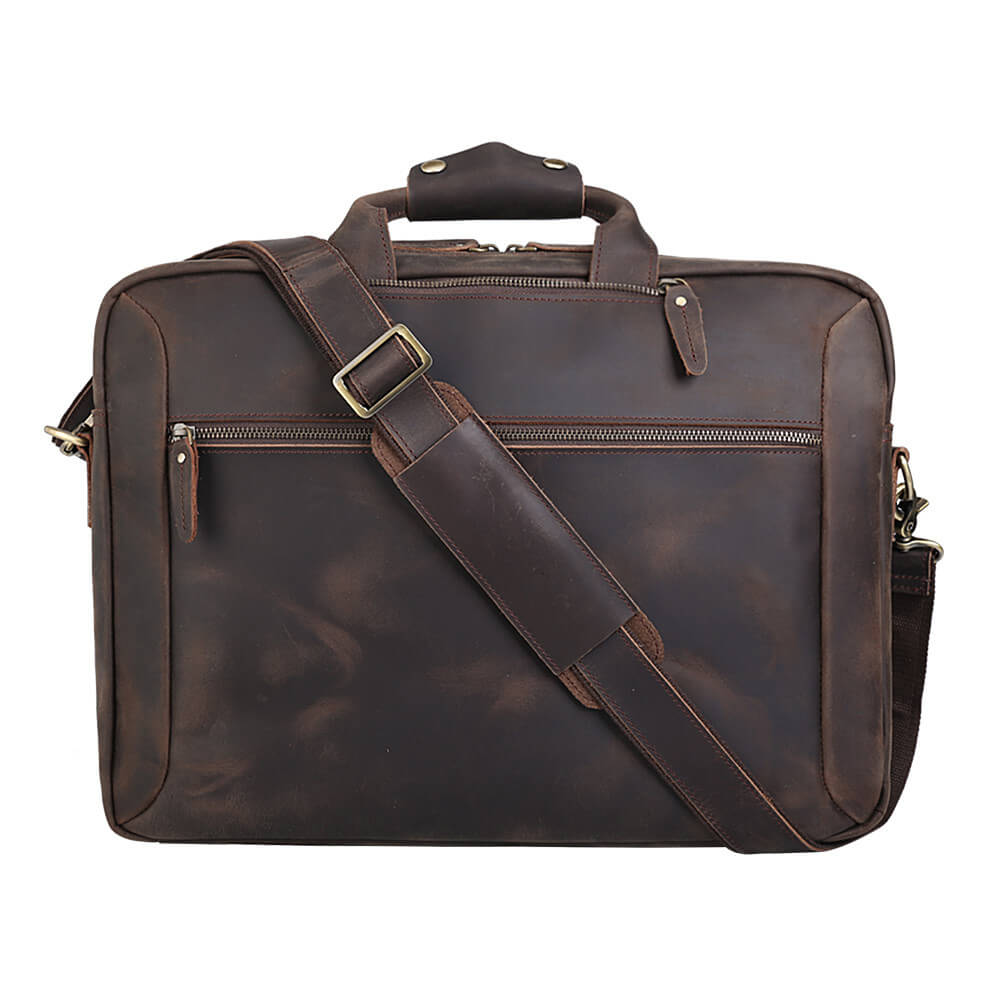 High quality luxury top grain leather satchel briefcase