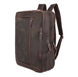High quality luxury top grain leather satchel can convert to backpack