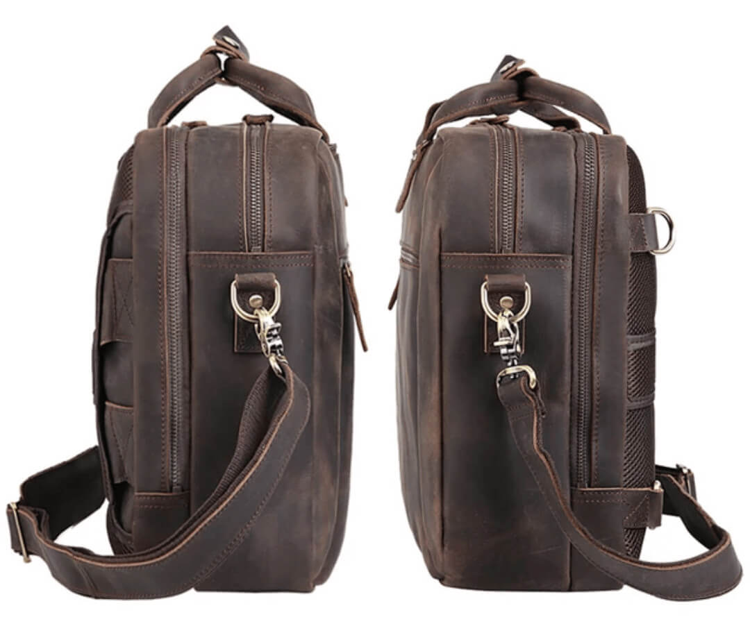 High quality luxury top grain leather satchel both sides or both tops where strap connects