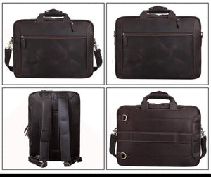 High quality luxury top grain leather bag four pictures showing converts to either backpack or briefcase satchel