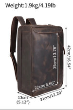 High quality luxury top grain leather backpack dimensions in inches 16.5 x 12 x 5