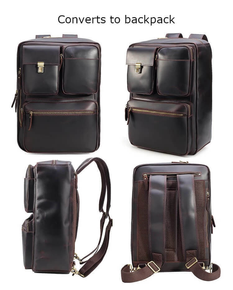 High quality leather briefcase can convert to backpack front side back with straps