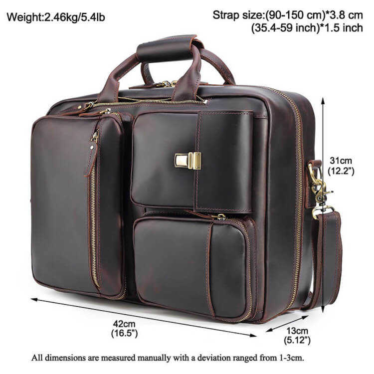 High quality leather briefcase can convert to backpack dimensions shown as briefcase 16.5 inches by 12.2 inches by 5 inches