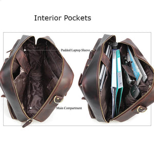 High quality leather briefcase can convert to backpack interior main pocket with padded laptop sleeve