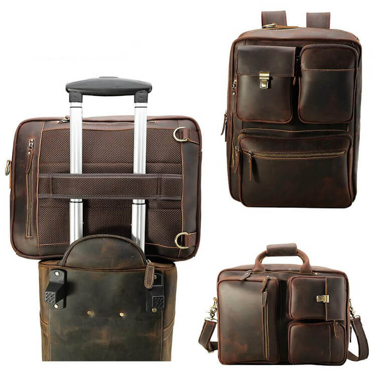 High quality leather briefcase can convert to backpack has back sleeved strap for luggage extension handle