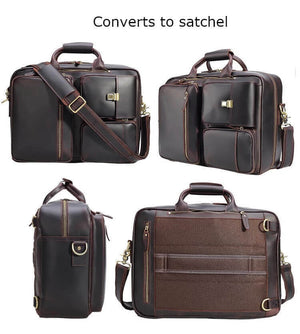 High quality leather satchel converts to briefcase with should strap