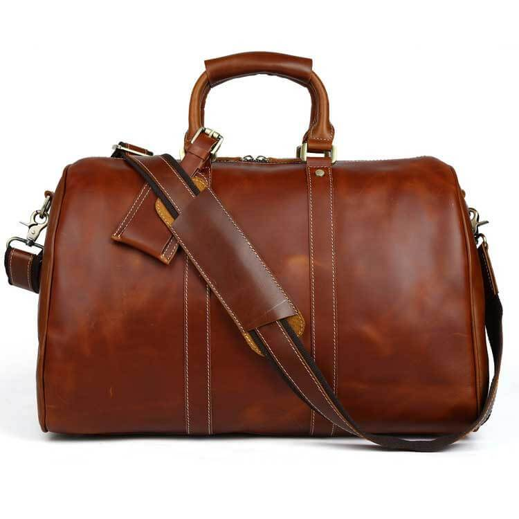 Royalties oil wax top grain genuine leather duffel bag with shoulder strap