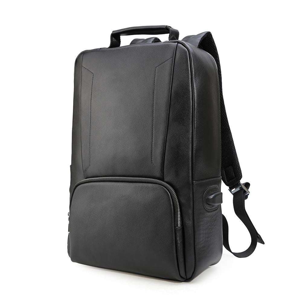 Luxury genuine leather water resistant backpack with usb charging port
