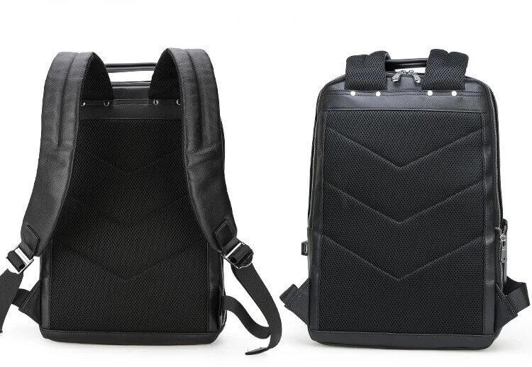 Luxury genuine leather water resistant backpack front and back