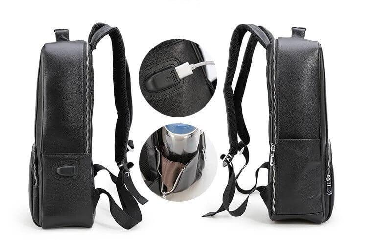 Luxury genuine leather water resistant backpack usb port side pocket
