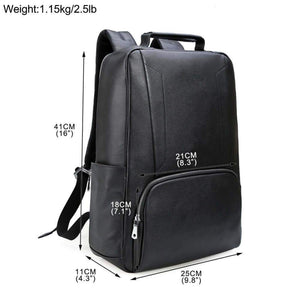 Luxury genuine leather water resistant backpack 16 inch tall 9.8 inch wide 4.3 inch deep