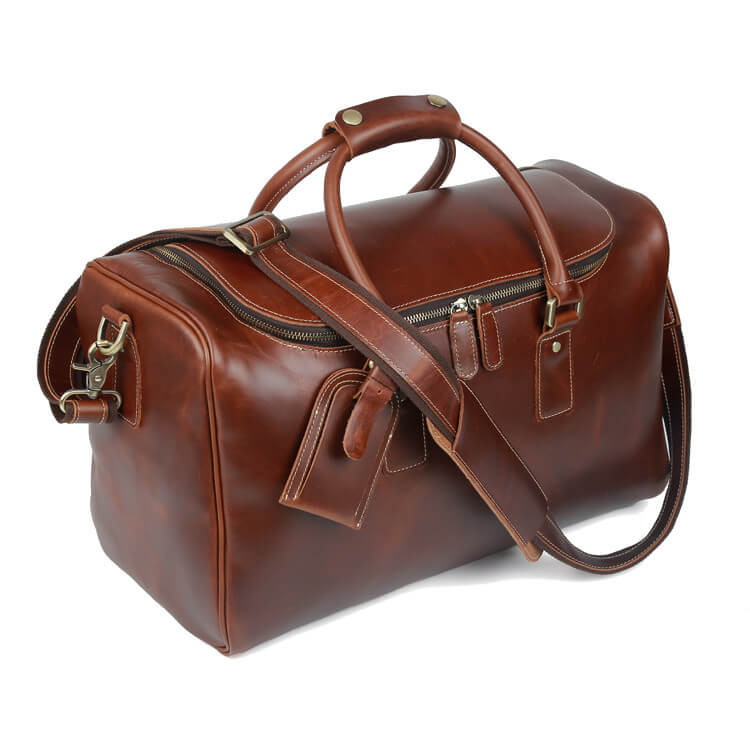 Stylish classy travel or gym duffel bag made of high quality oil waxed leather