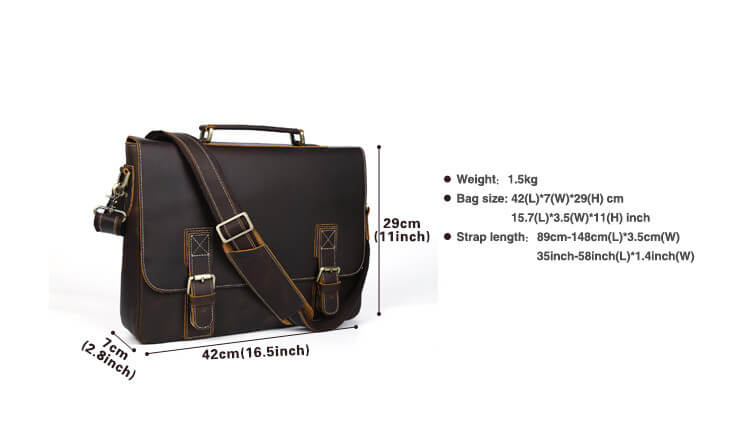 High quality top grain leather durable business briefcase dimensions 3 inches by 16.5 inches by 11 inches
