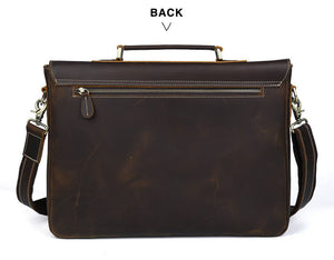 High quality top grain leather durable business briefcase back zipper pocket