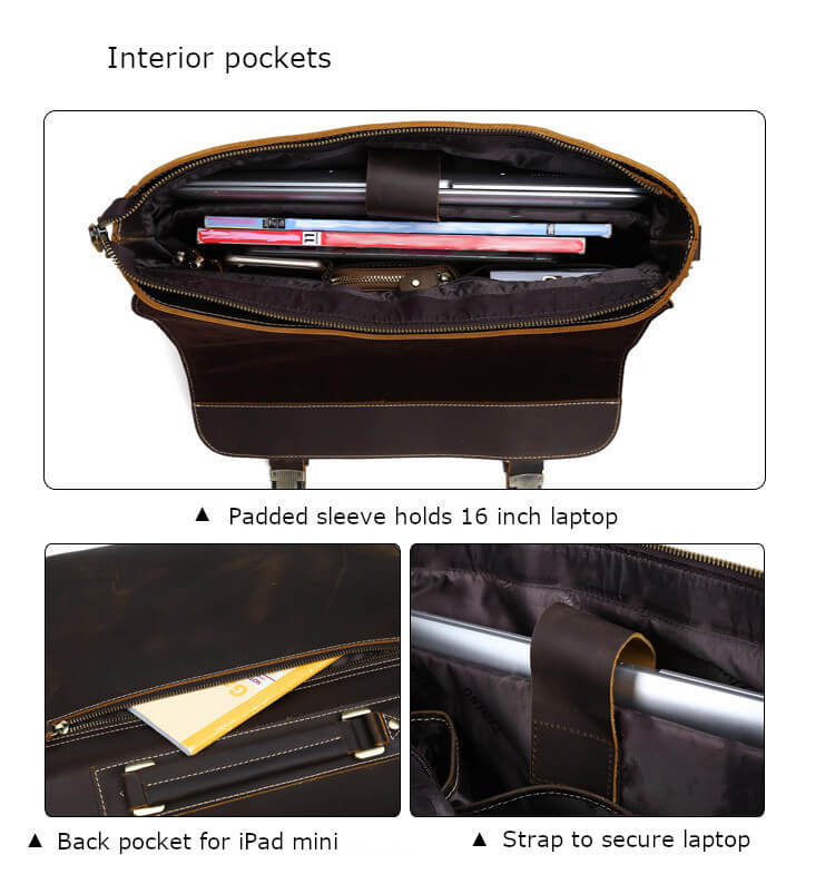 High quality top grain leather durable business briefcase interior padded sleeve holding 16 inch laptop with pocket for iPad mini