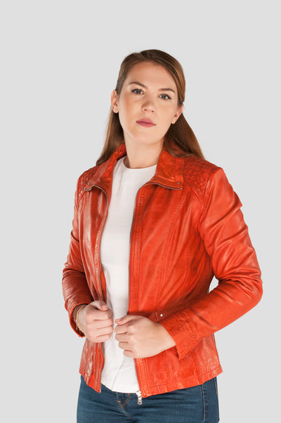Orange Damen Lederjacke - Ledermoden Susanne