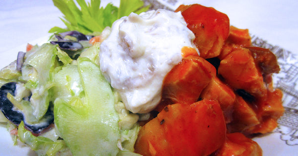 Buffalo Chicken Bites with Blue Cheese Slaw