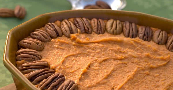 Caramel Pecan Sweet Potatoes. No Added Sugar!