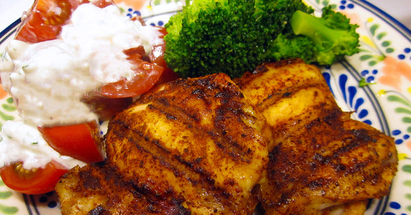 Let's Make Supper - Grilled Chicken, Broccoli, and Tomatoes with Blue Cheese Dressing