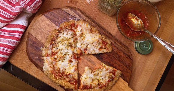 CHICKEN CRUST PIZZA! GENIUS... use a chicken burger.