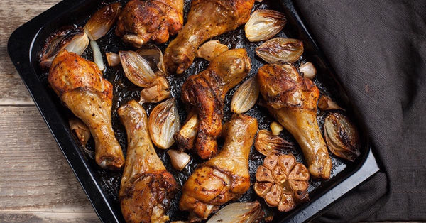 Sheet Pan Meal: Chicken with Roasted Garlic & Onions