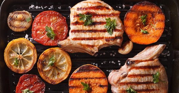 Grill Pan Meal: Brined Pork Chops and Vegetables