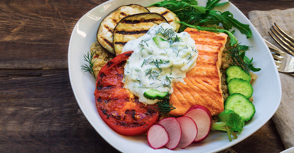 Grilled Salmon Vegetable Bowl with Tzatziki Sauce